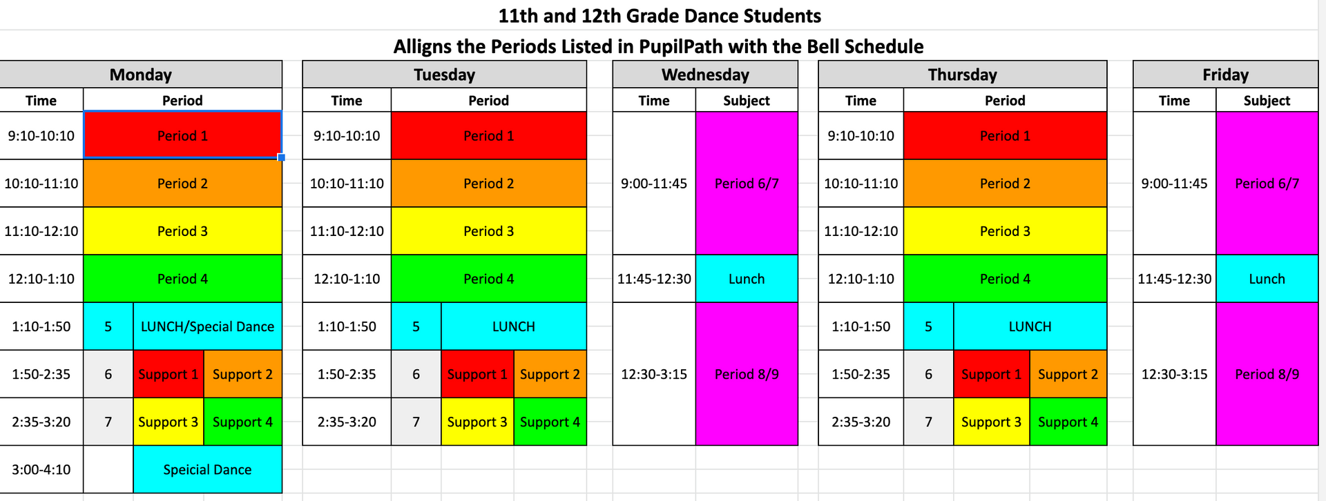 Dance Bell Schedules Grades 11 and 12