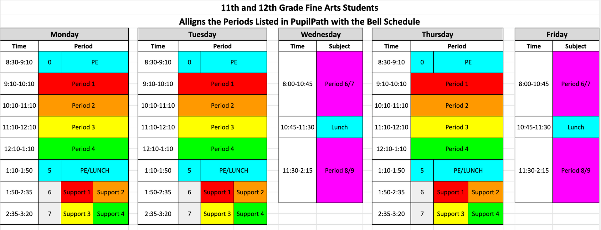 Fine Arts Bell Schedule Grades 11 and 12