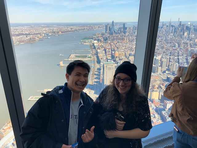 Two Seniors on field trip to World Trade Towers