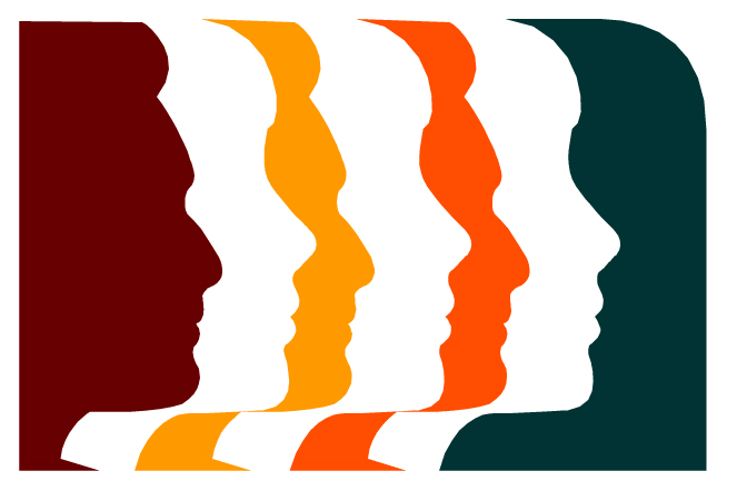 Respect For All Logo of 7 silhouette faces.