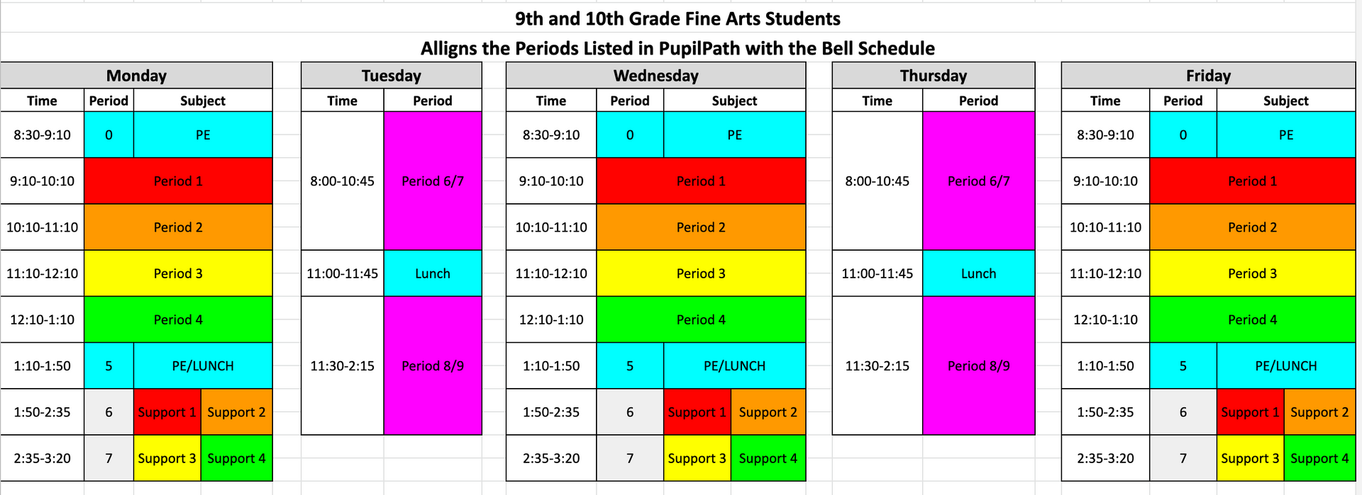 Fine Arts Bell Schedules Grade 9 and 10