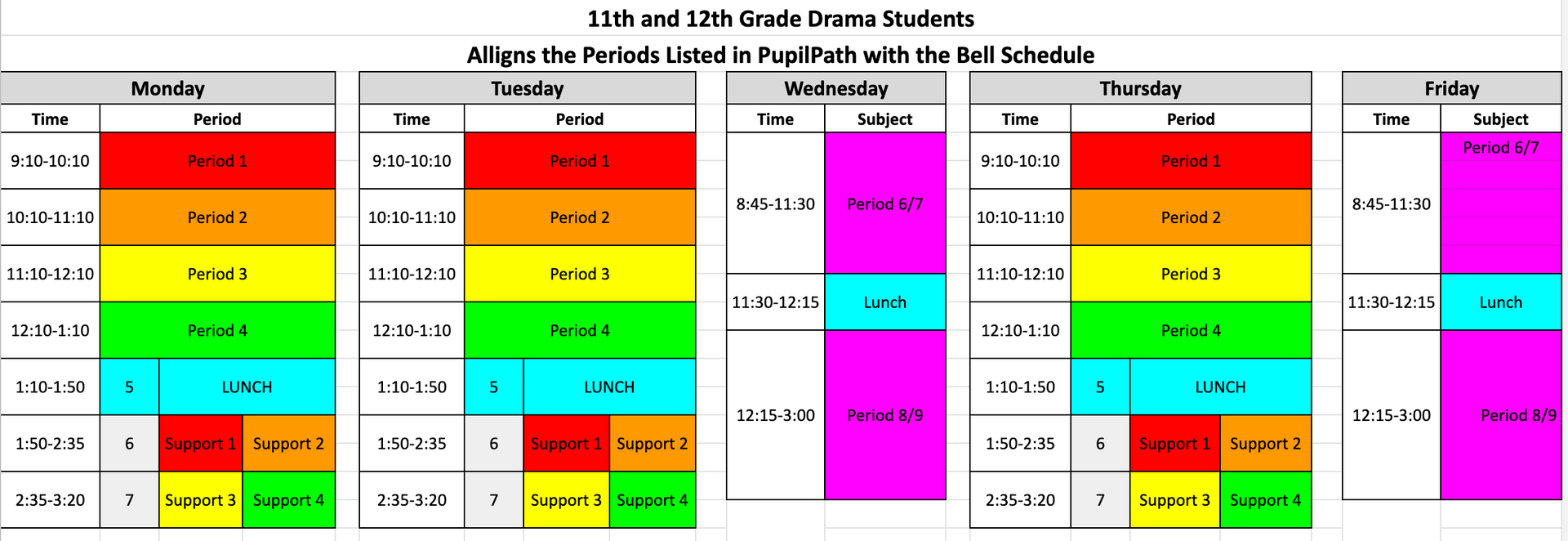Drama Bell Schedules Grades 11 and 12