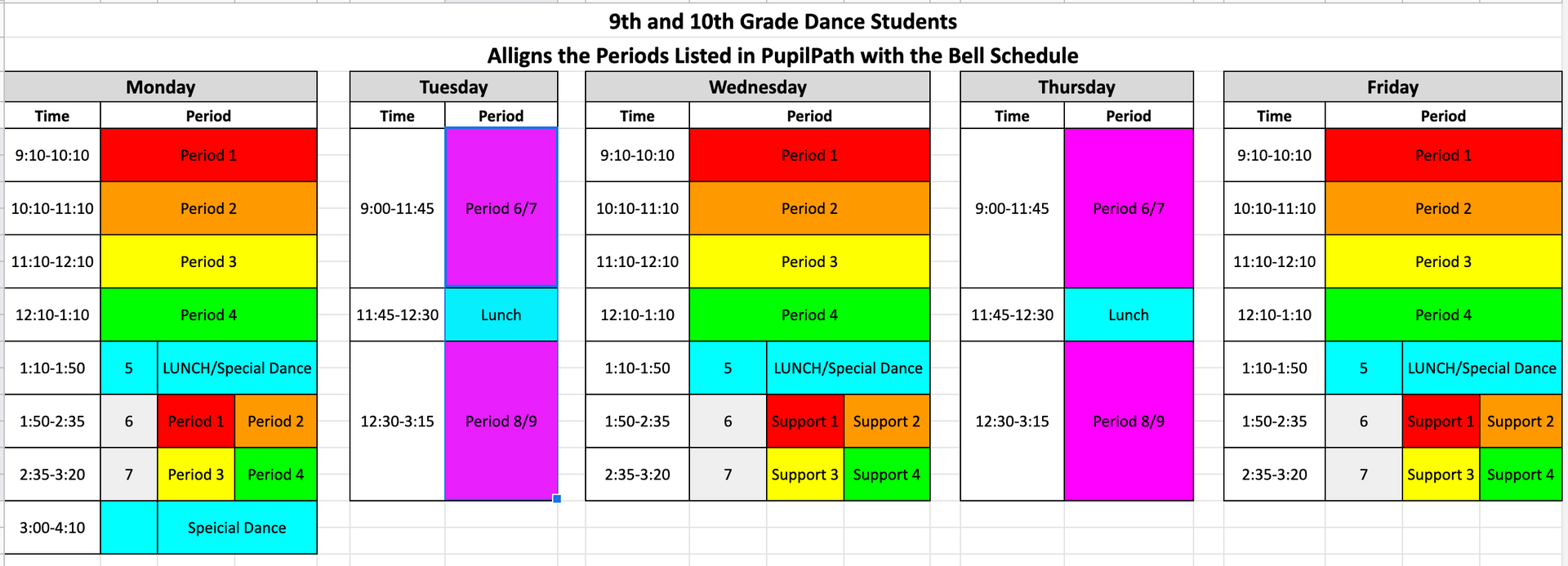 Dance Bell Schedules 9 and 10