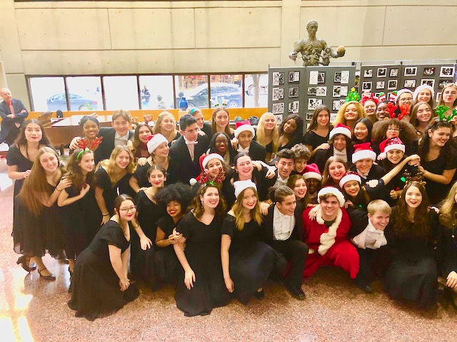 Show Choir in Group Pose for Holiday Caroling