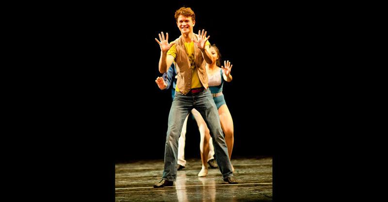 """Male actor dancing in """"Hello Twelve, Hello Thirteen, Hello Love"""""""