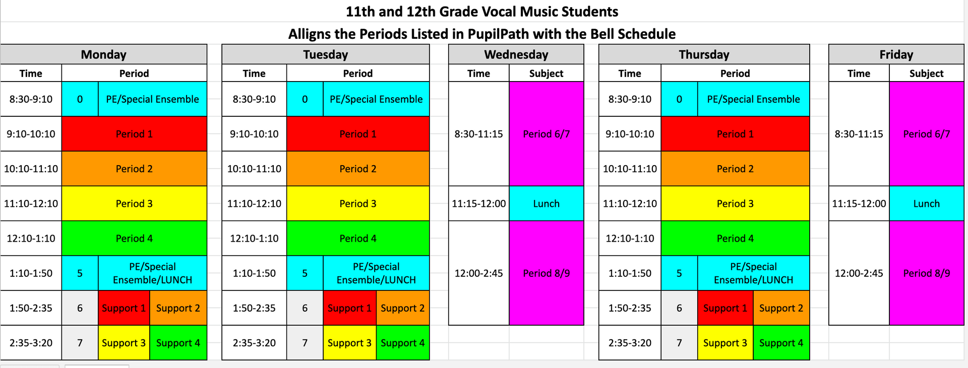 Vocal Bell Schedules Grades 11 and 12