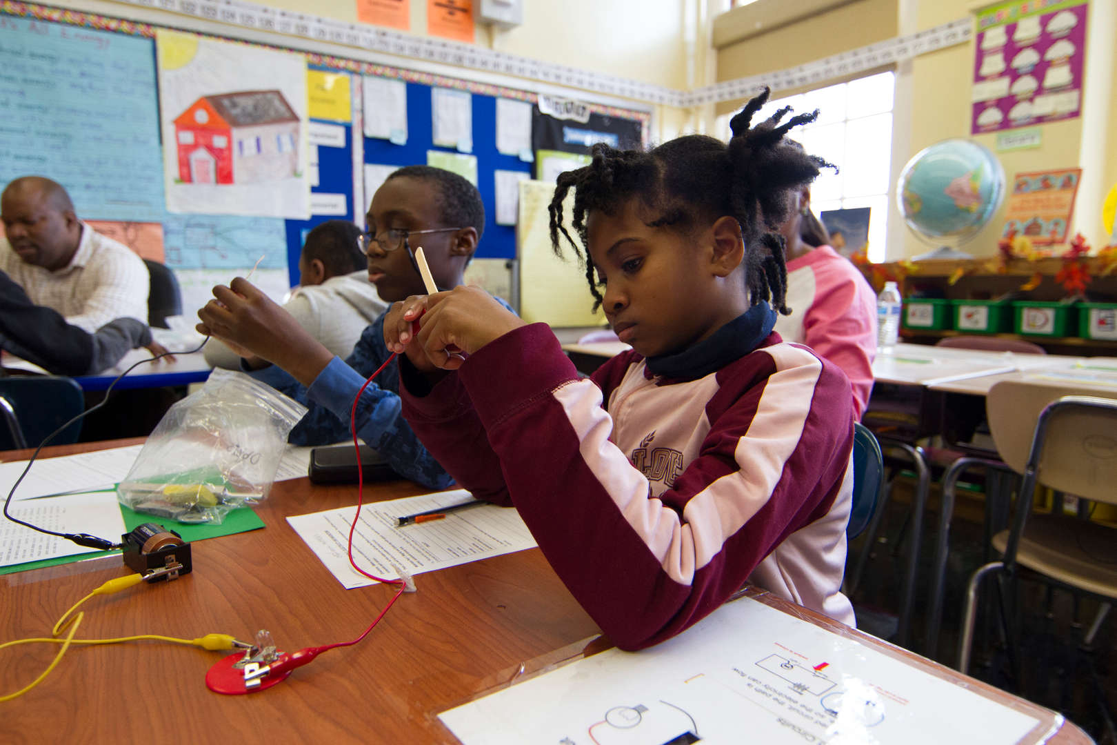 Students working on electrical project