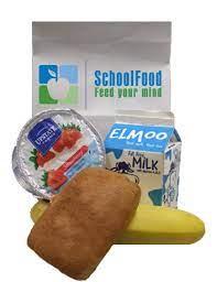 Sample of a School Food breakfast including milk, muffin, yogurt and banana.