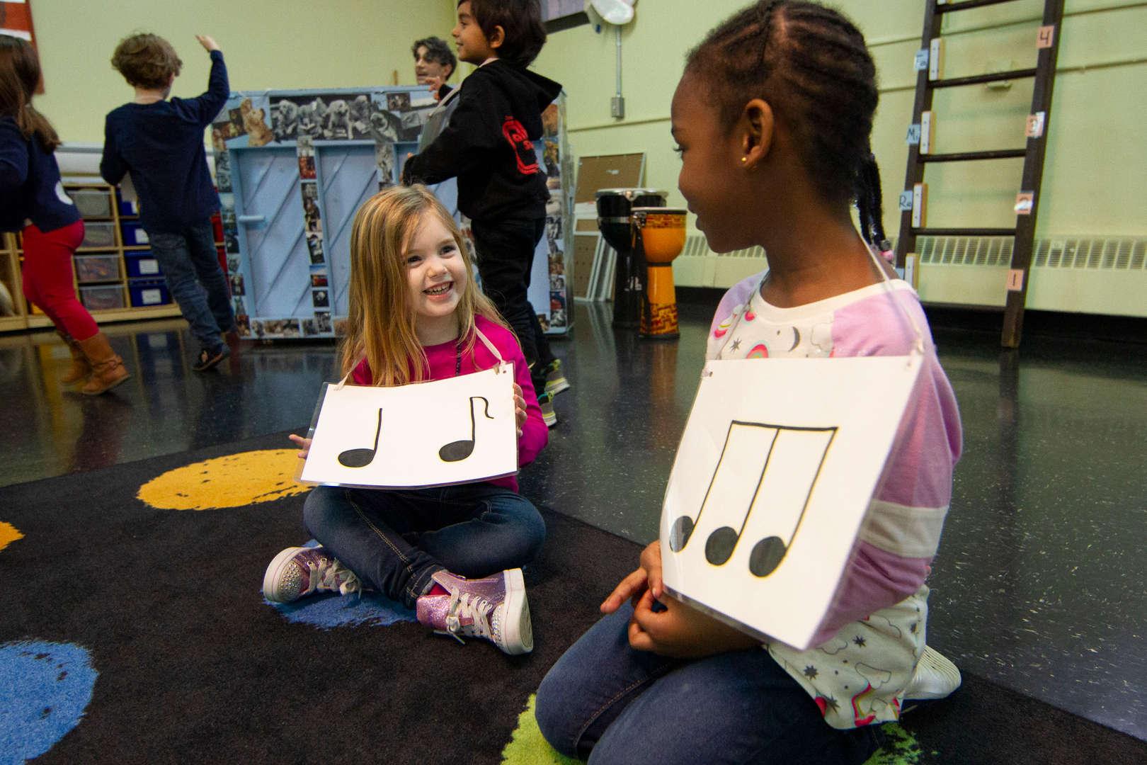 Girls in music class