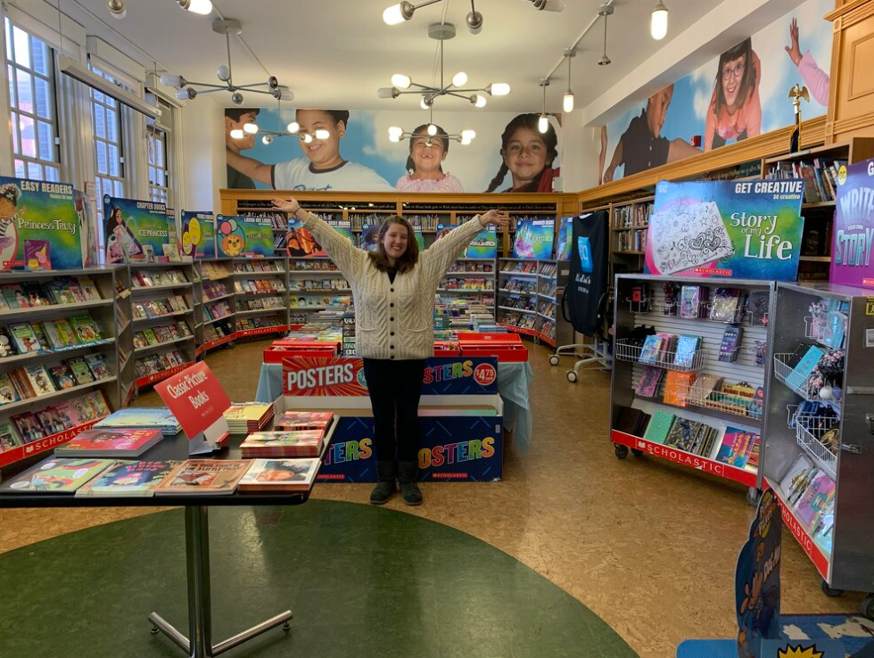 Ms. Cloud, the librarian, in the PS 10 library during the fall book fair