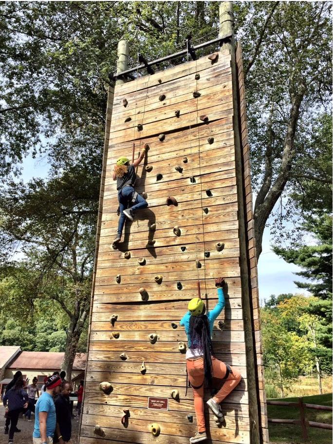 KAPPA students climbing rock wall