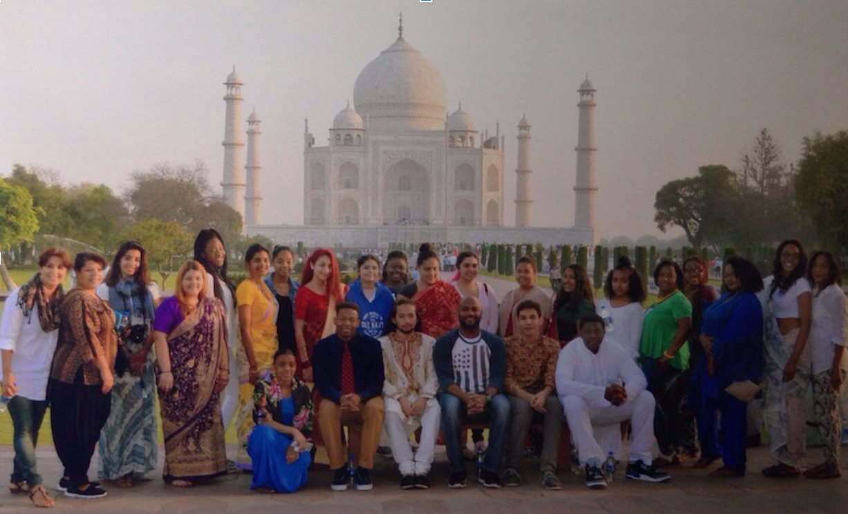 Students on trip to India