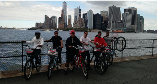 Students biking around NYC