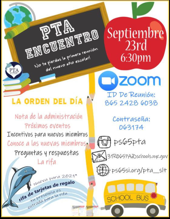 PTA September Meeting Information with ZOOM details Spanish