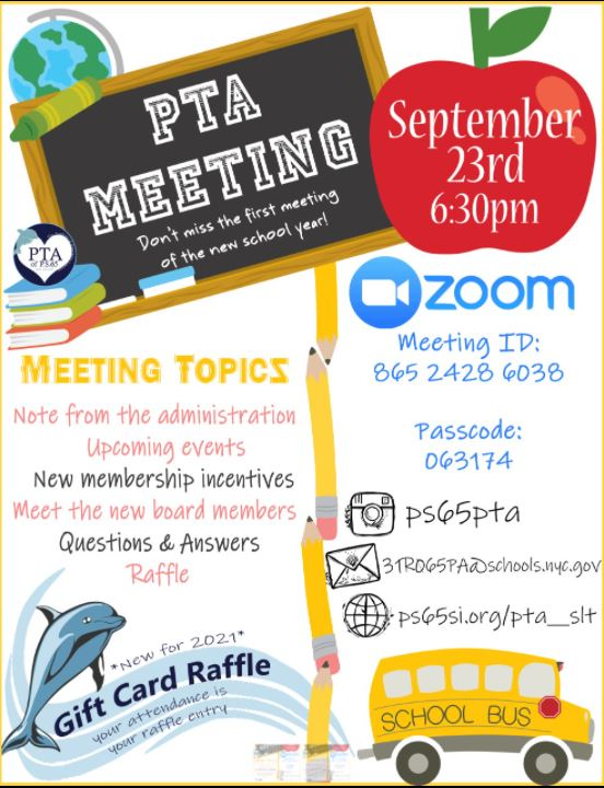 PTA September Meeting Information with ZOOM details Eng
