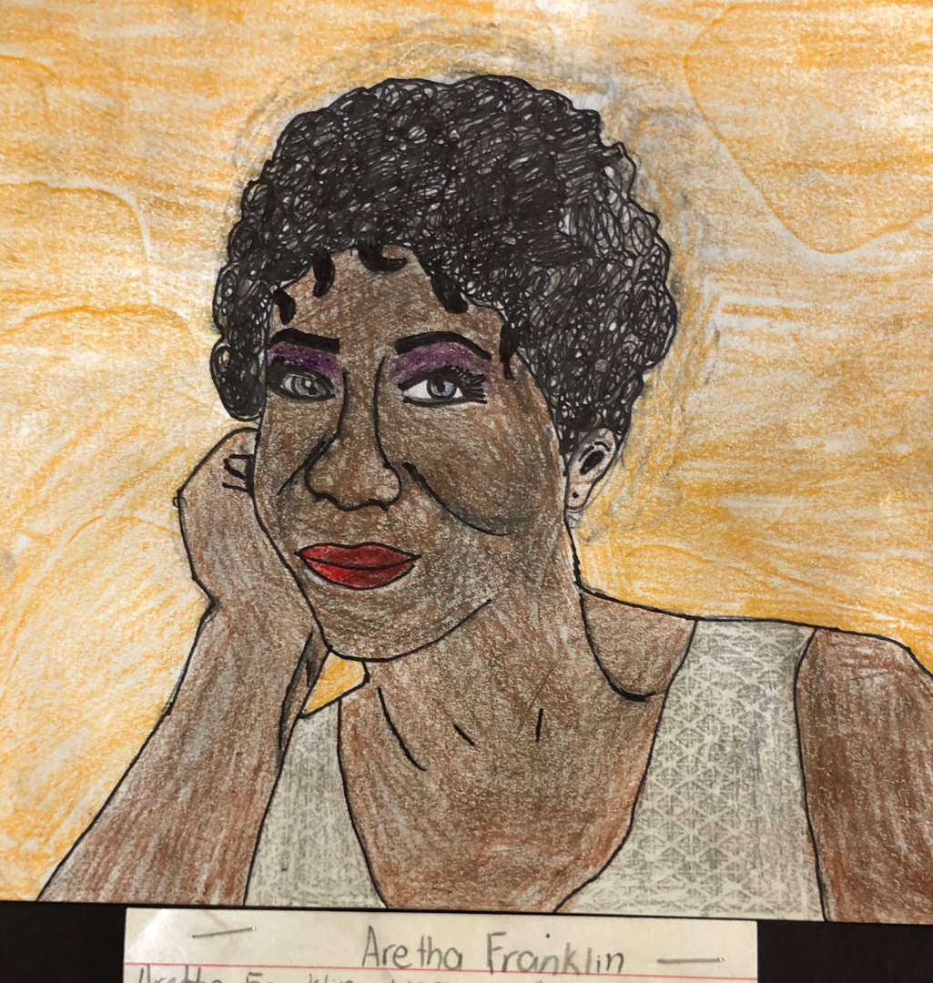5th grade portrait of Aretha Franklin