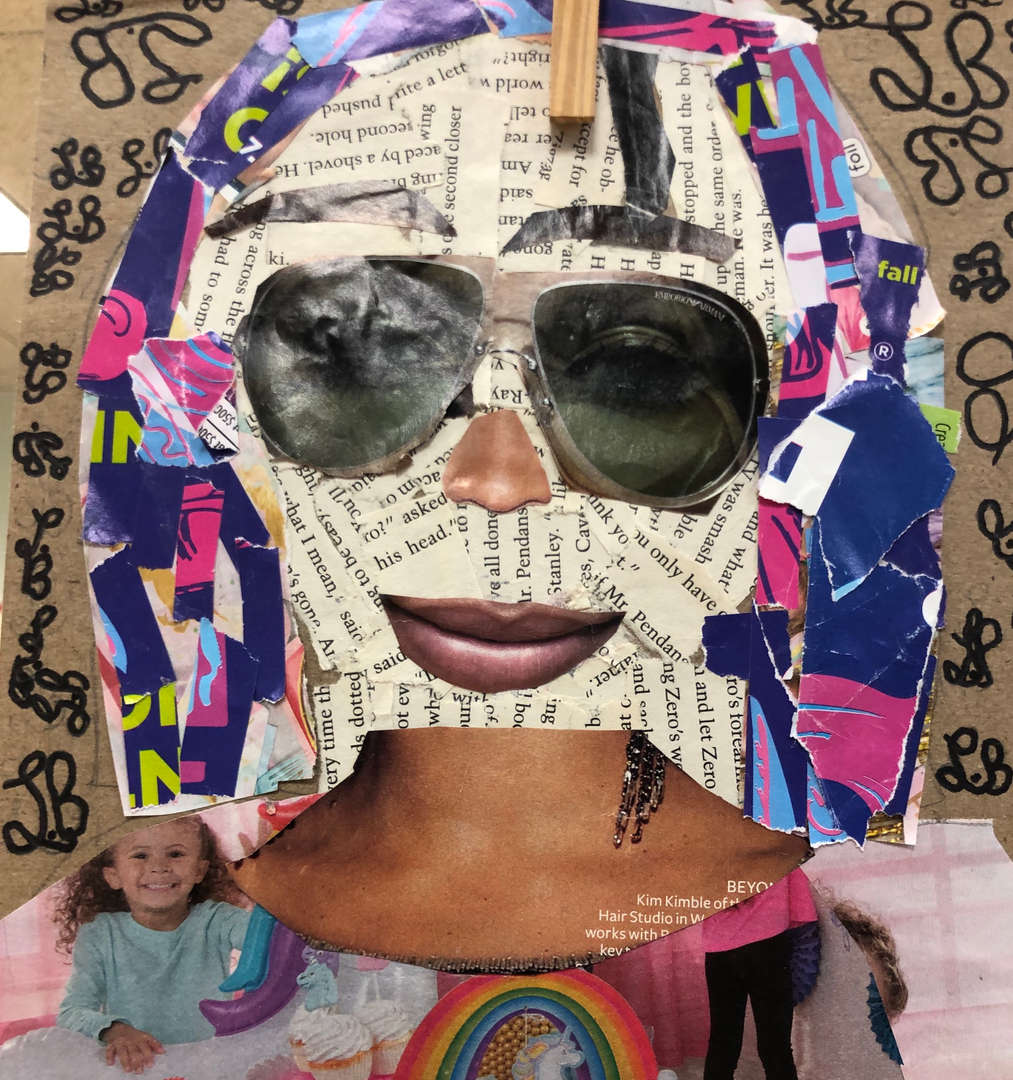 5th grade student collage self portraits using newspaper, magazines and catalogs