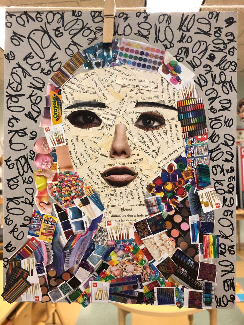 student collage self portraits using newspaper, magazines and catalogs