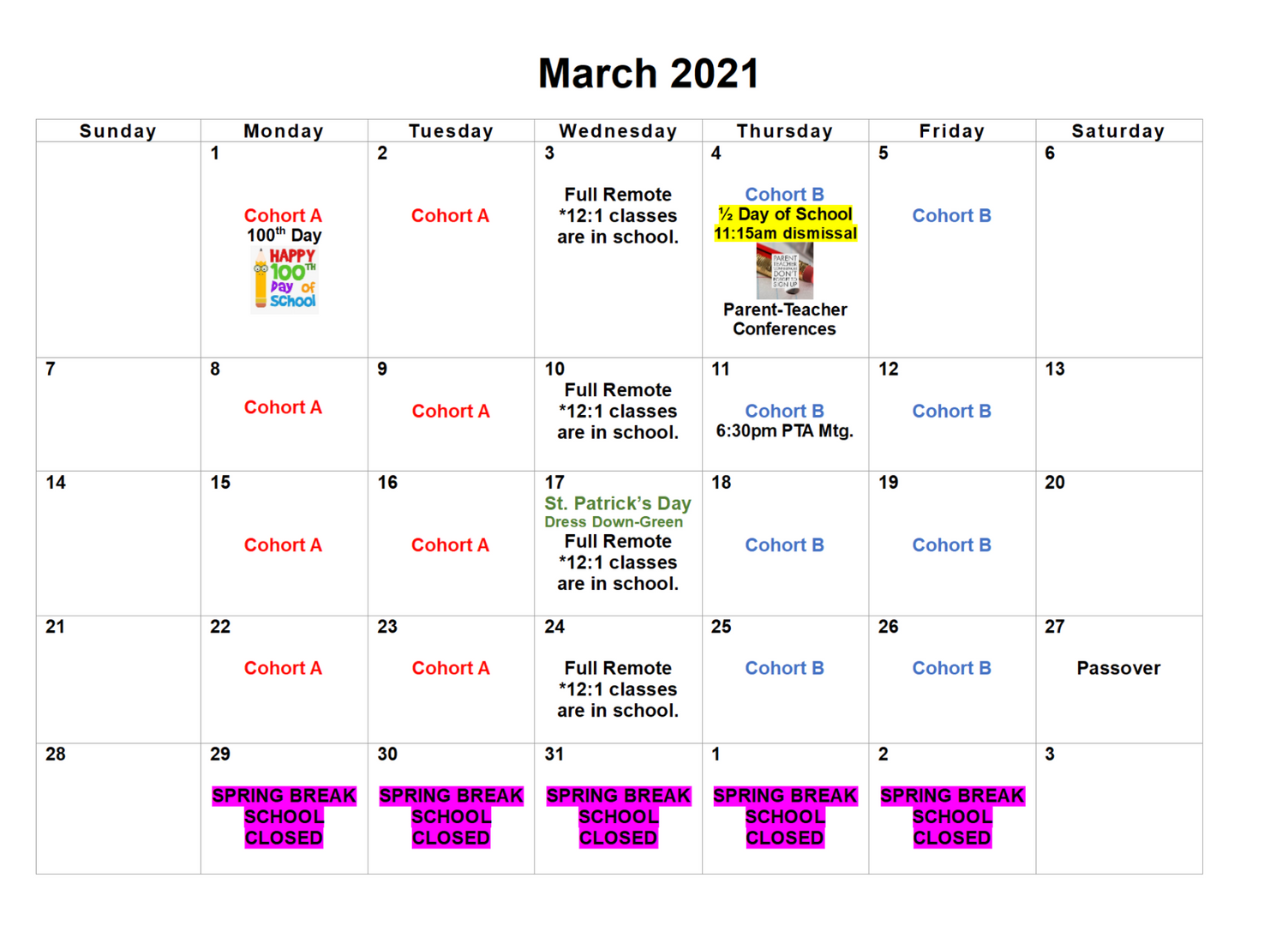March calendar with cohort days and events