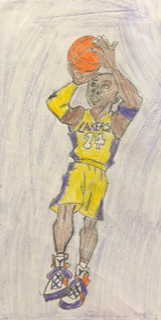 student artwork sketch of a basketball player shooting hoops