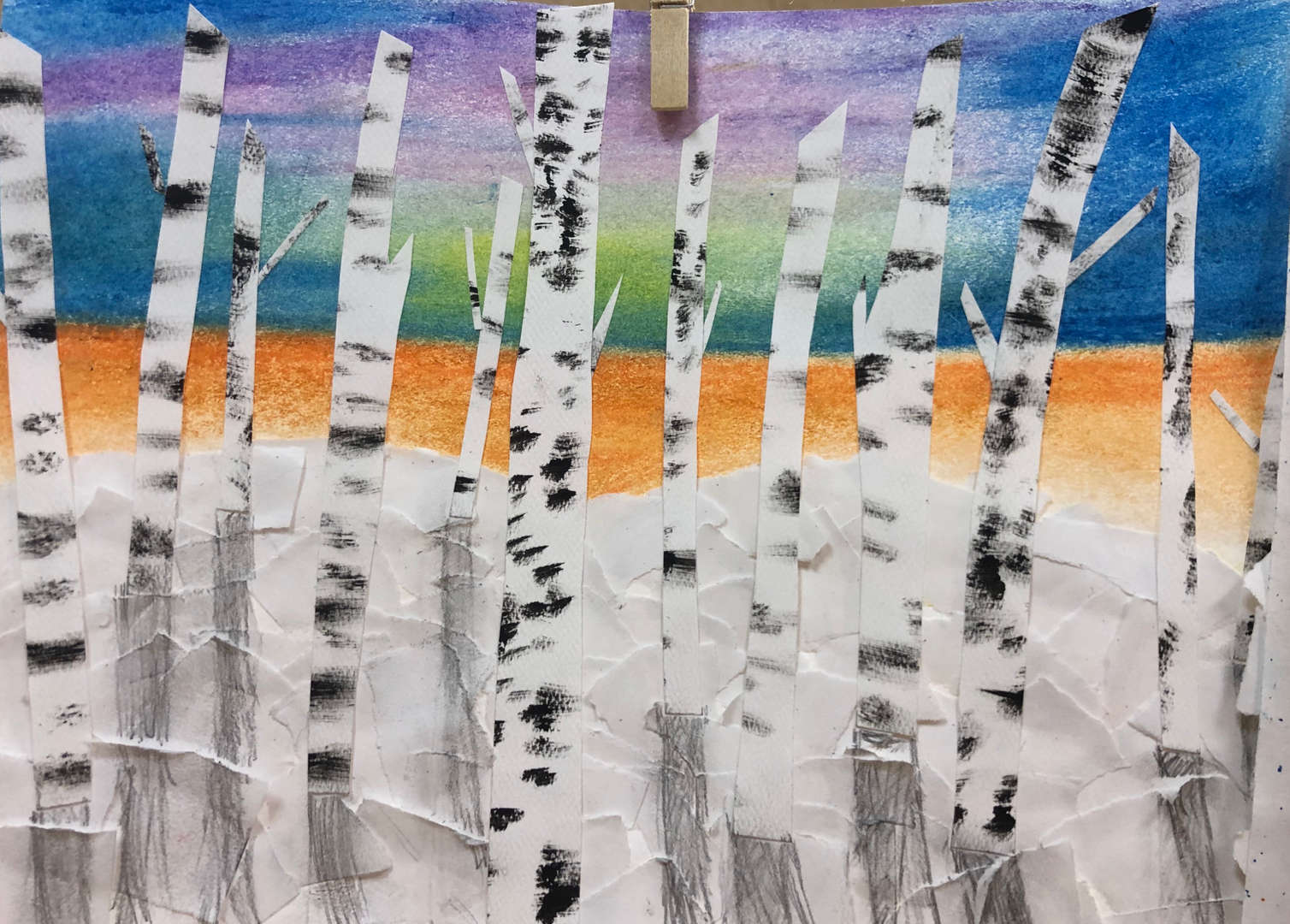 Mixed media birch tree artwork