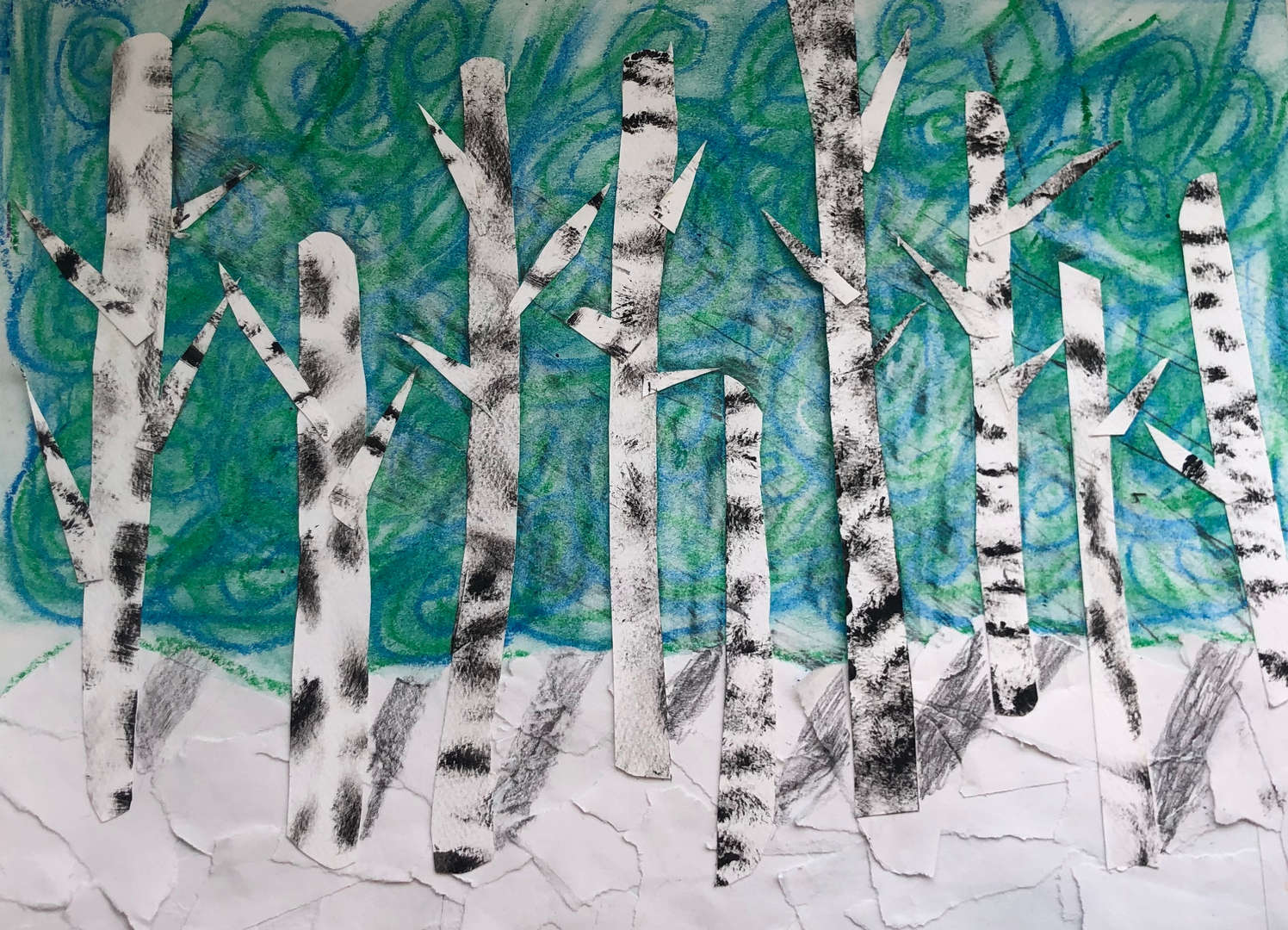 mixed media collage of birch trees with oil pastels