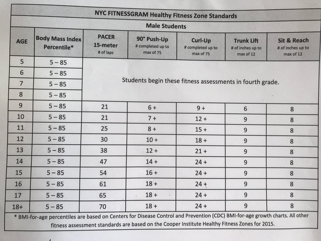 Fitnessgram Healthy Fitness Zones Male