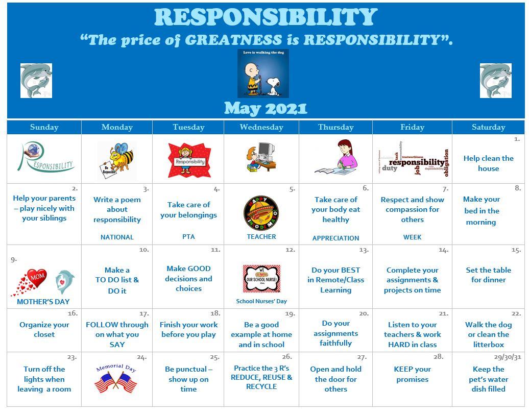 May Responsibility Calendar