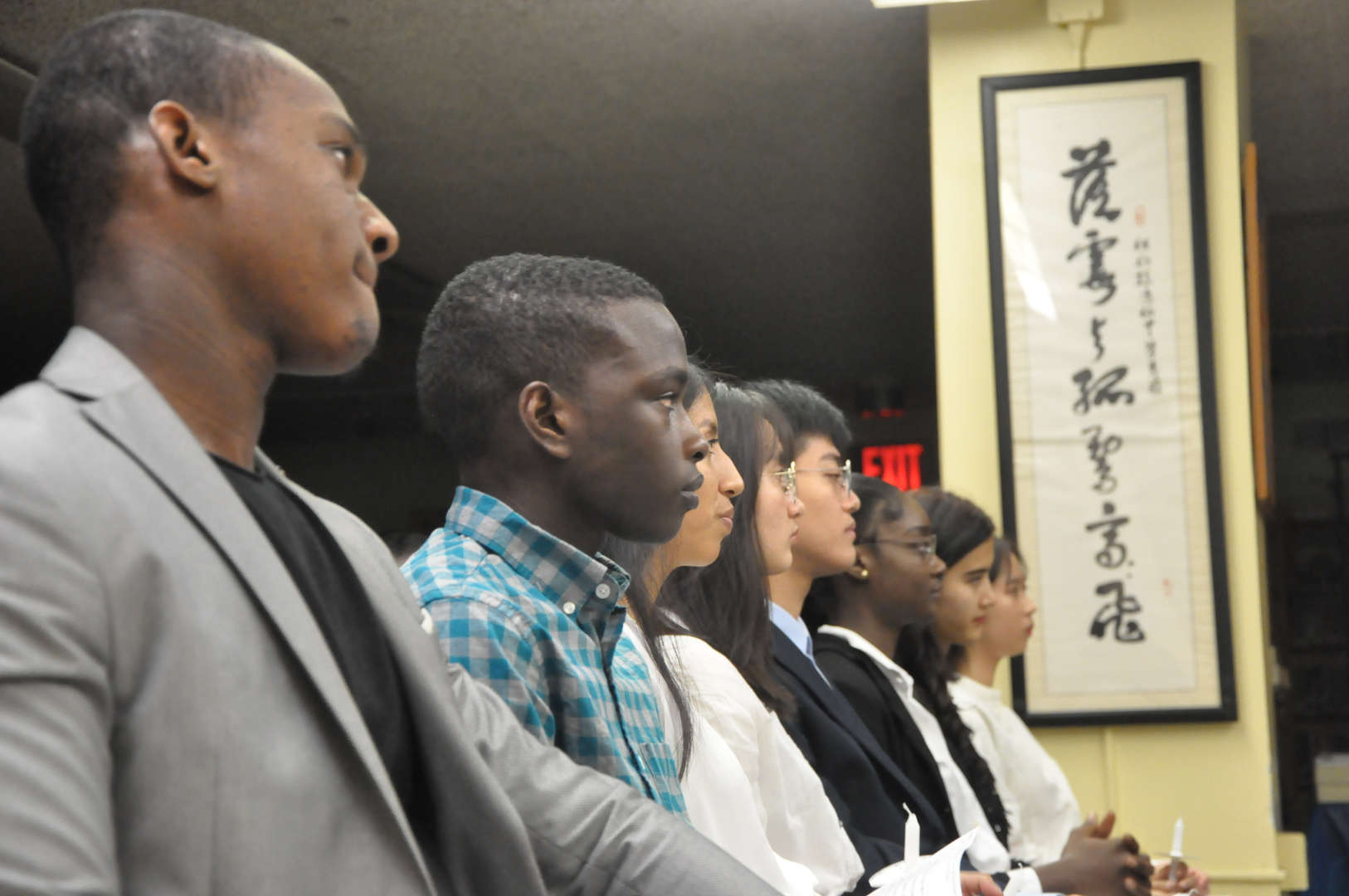 Students listening intently