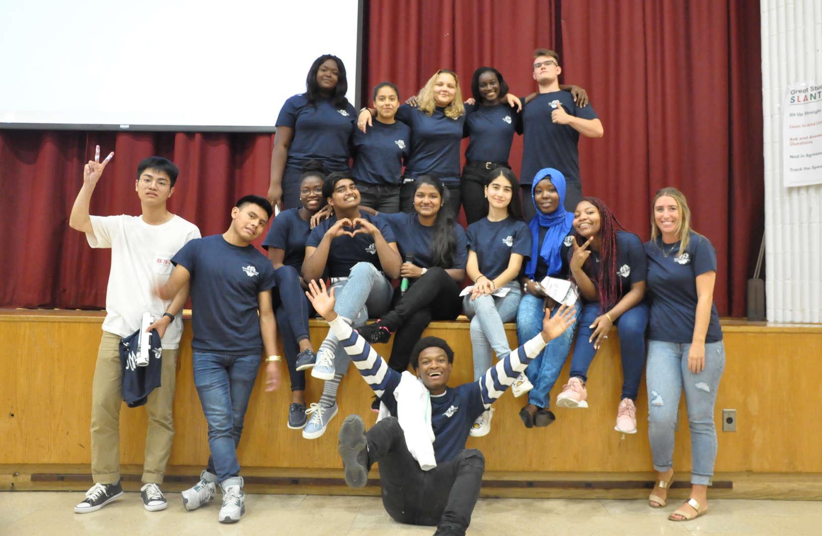 ELHS students posing in theatre