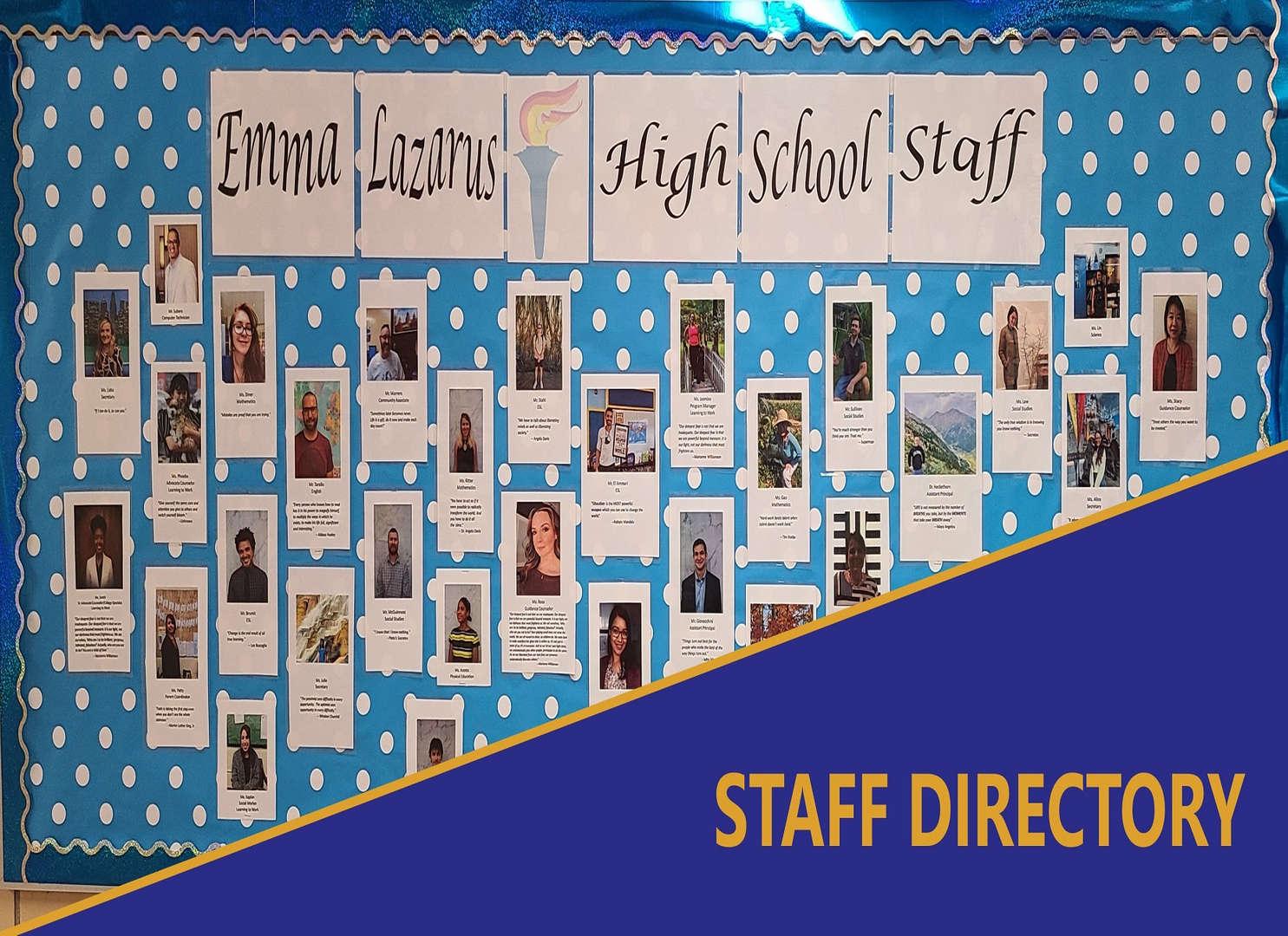 Staff Directory - School staff poster wall