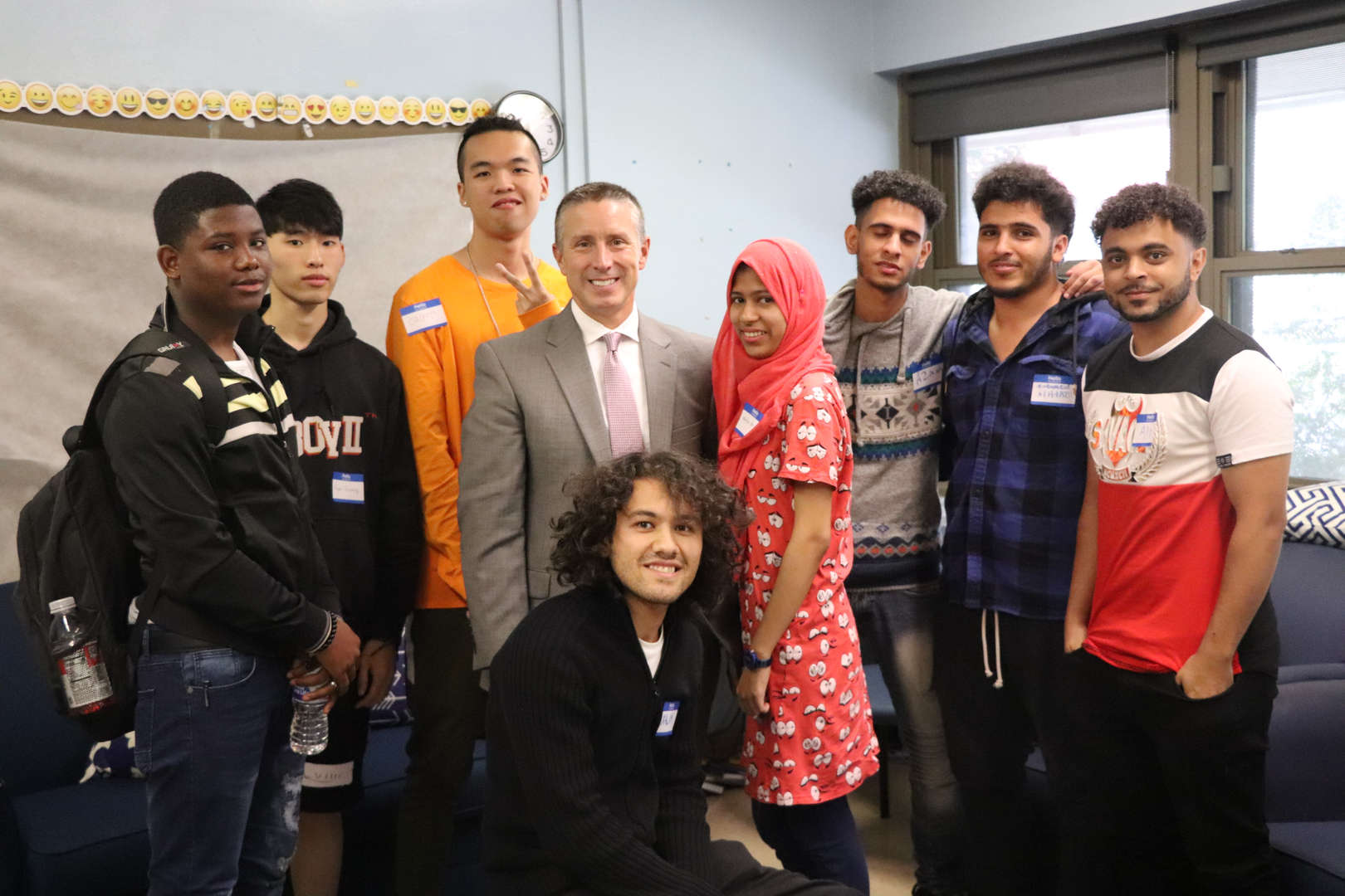 Mr. Heckethorn poses with students