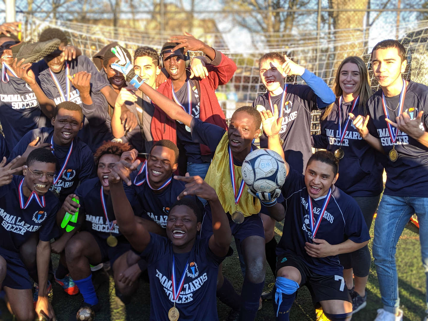Soccer team celebrating championship