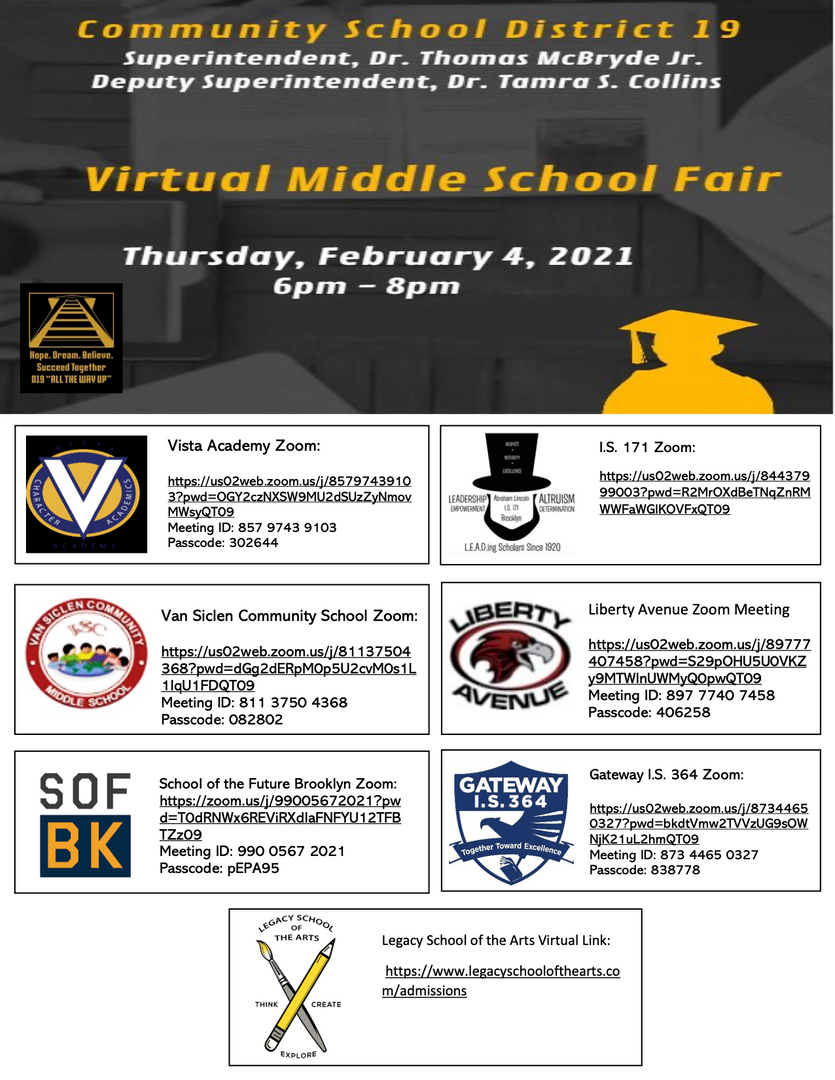 Middle School Fair Flyer for District 19