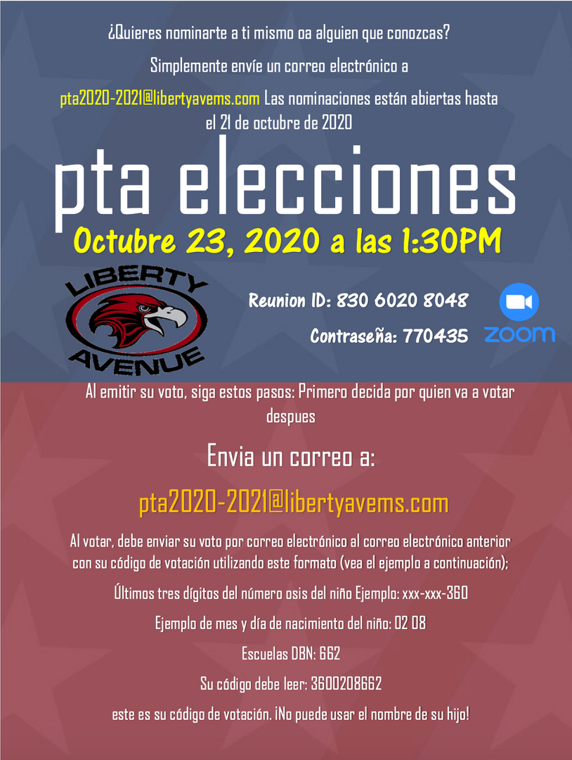 PTA elections flyer spanish