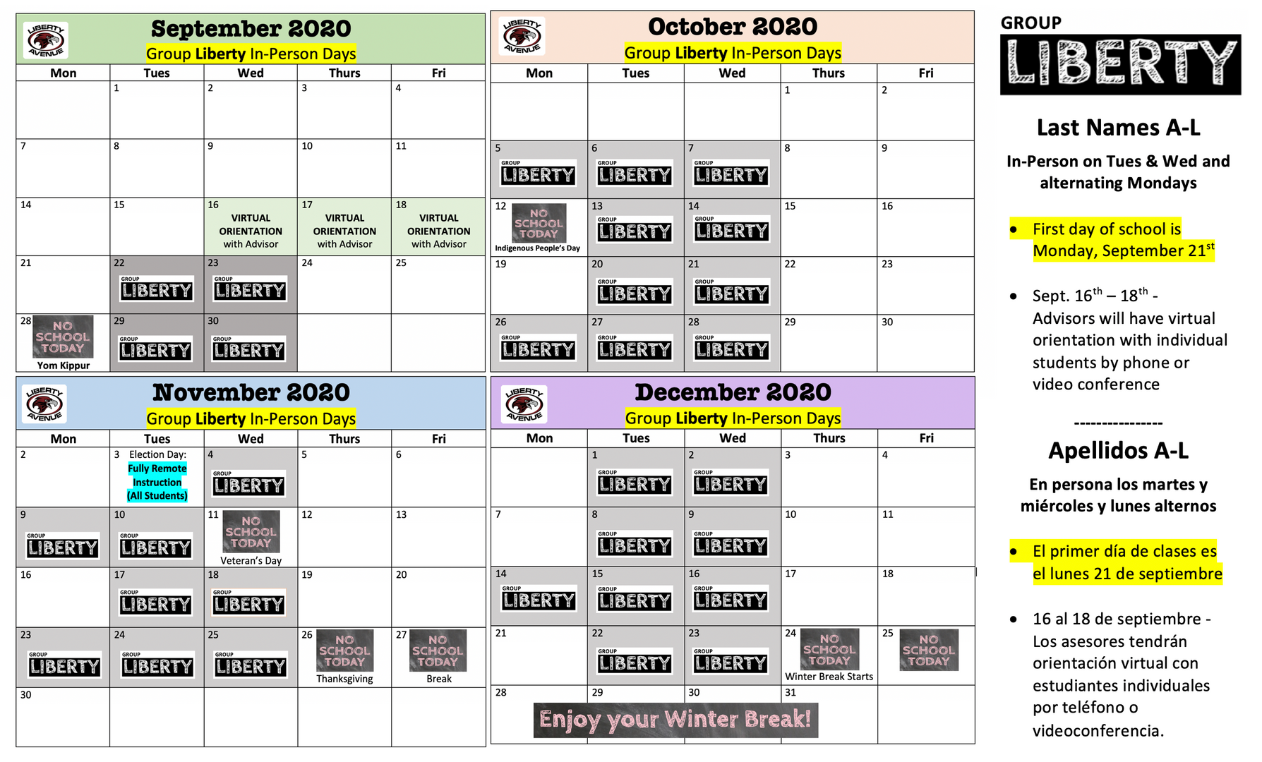 Group Liberty Calendar