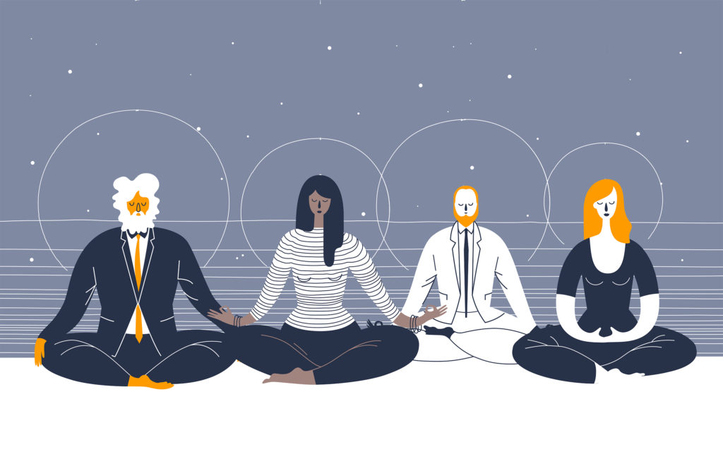 4 people meditating