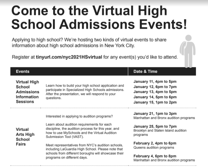 High School Admissions Event flyer