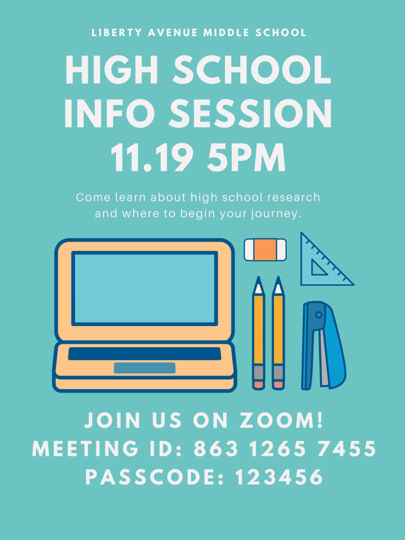 Flyer for high school session in English