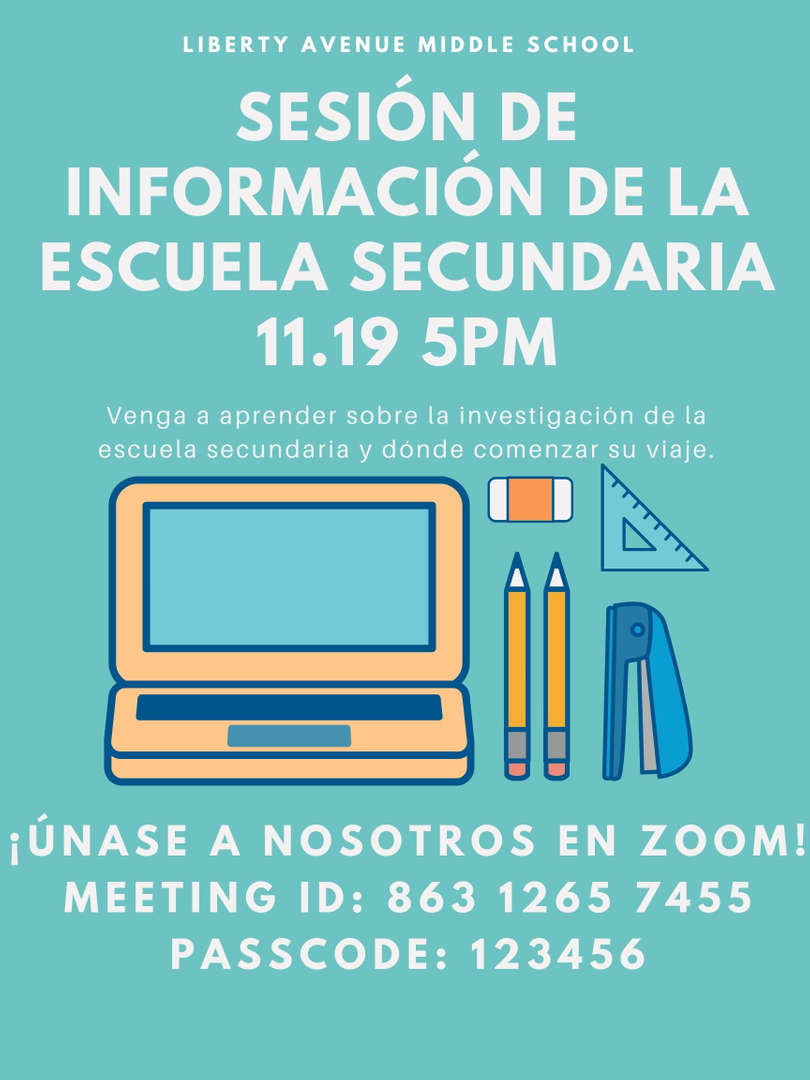 Flyer for high school session in Spanish