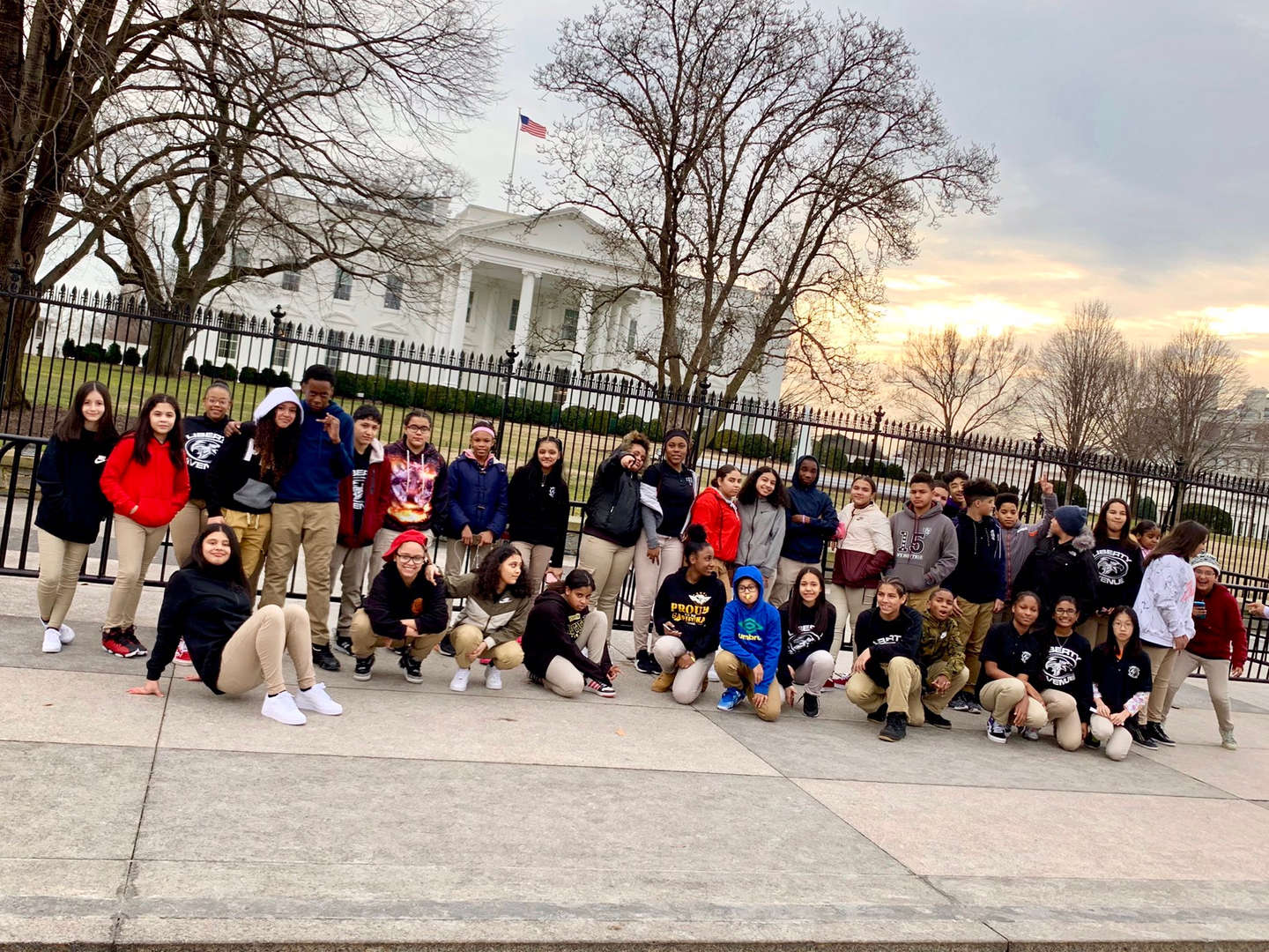 Groups of students in front of the White House