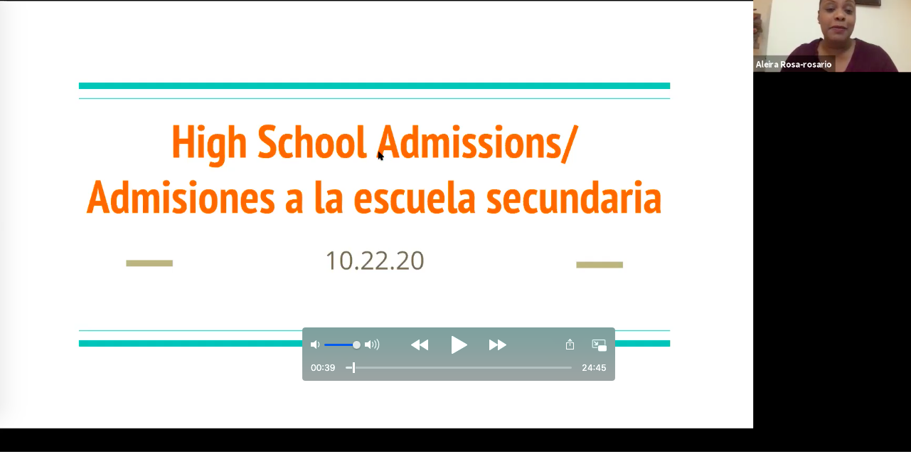 """Screenshot of Zoom High School Info Session. Slide with text says """"High School Admissions."""""""