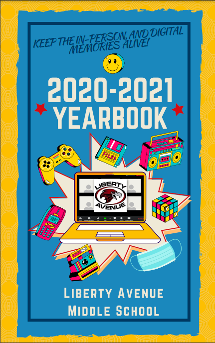 Blue and Yellow Yearbook Cover from 2020-2021