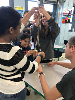 Kids using string for project
