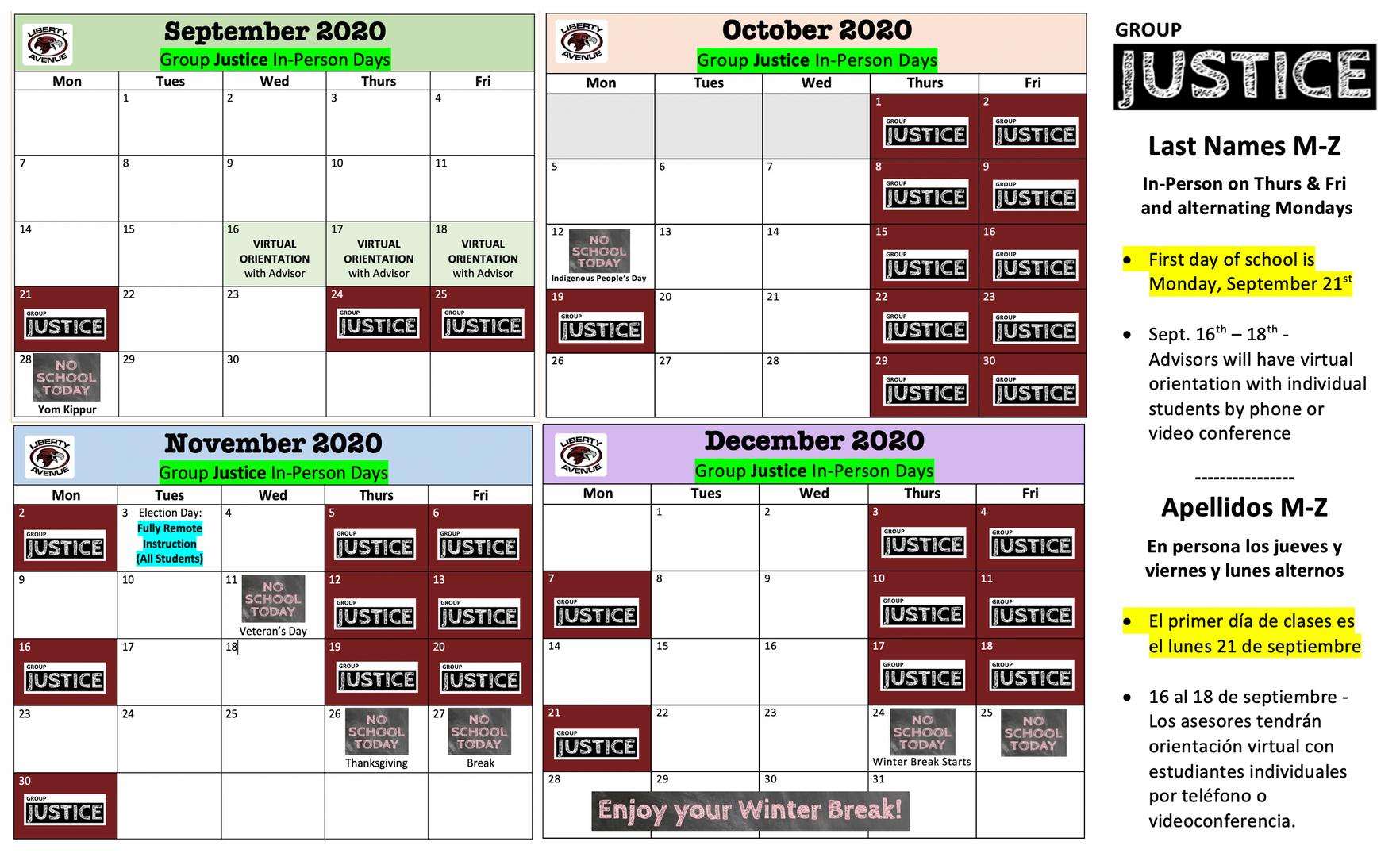Group Justice Calendar