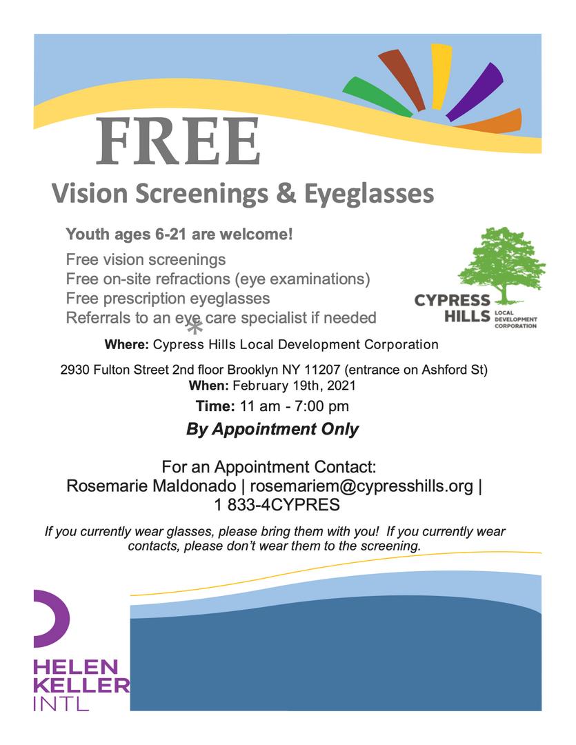 Free Vision Screening poster
