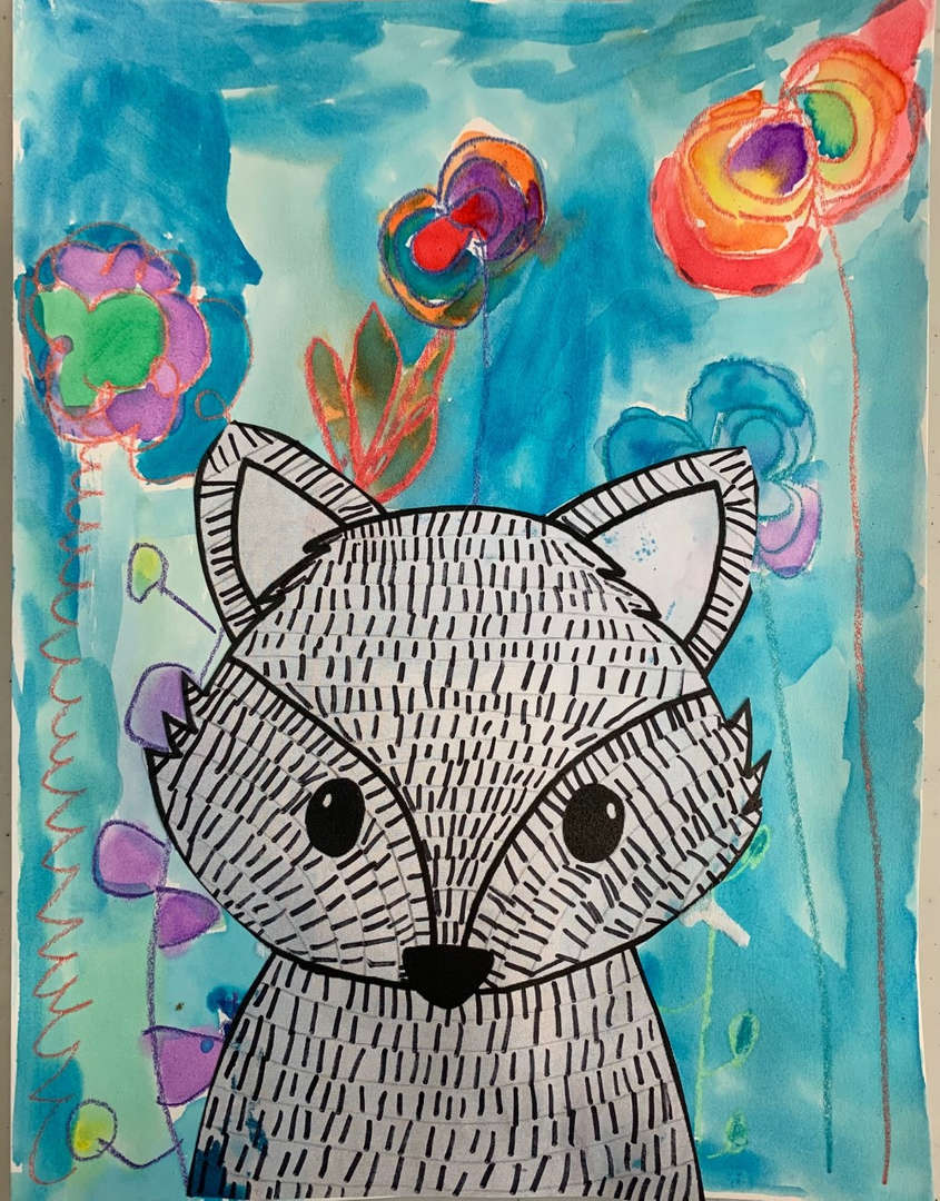 Drawing of a racoon