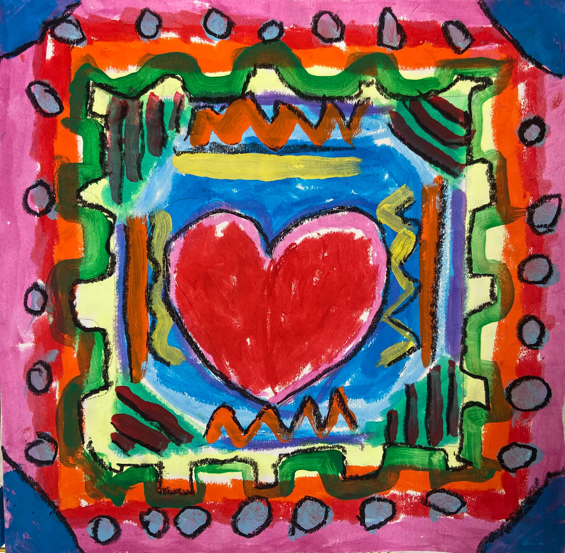 Drawing of a heart in a picture frame