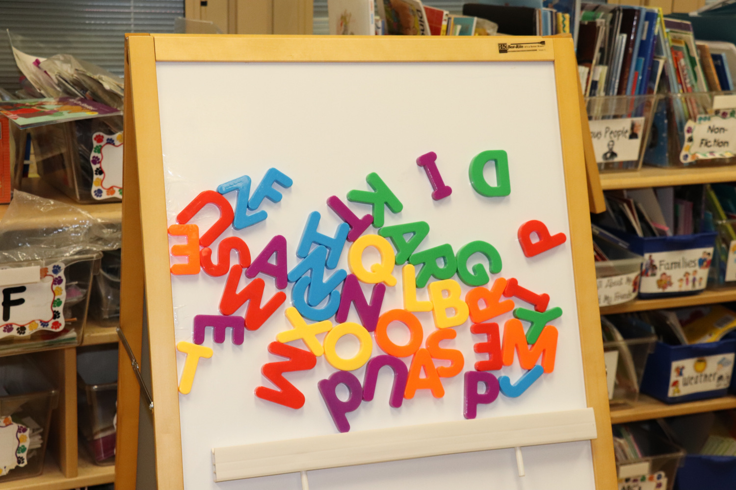 Alphabet letters on board