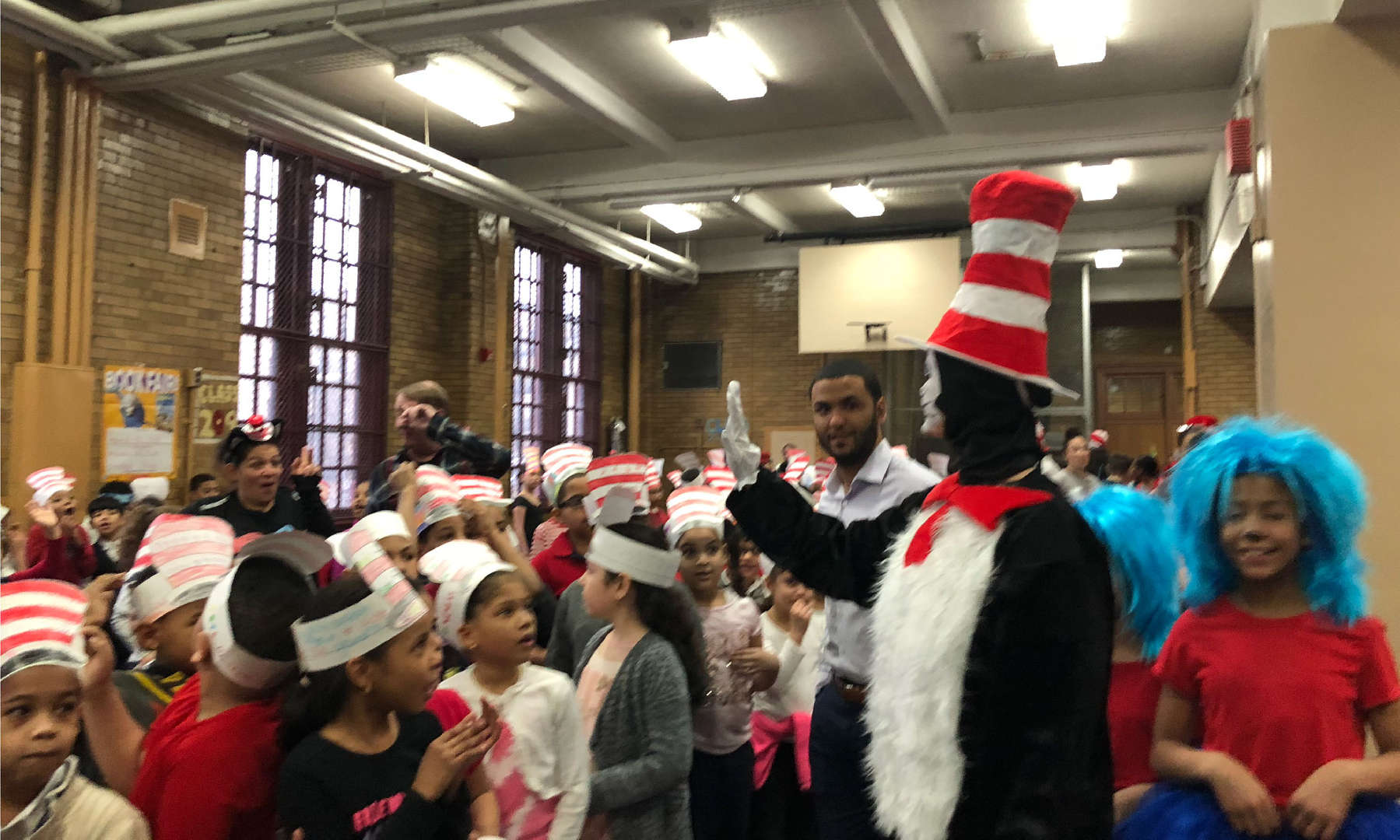 Students and teachers dressed up for Dr. Seuss Day